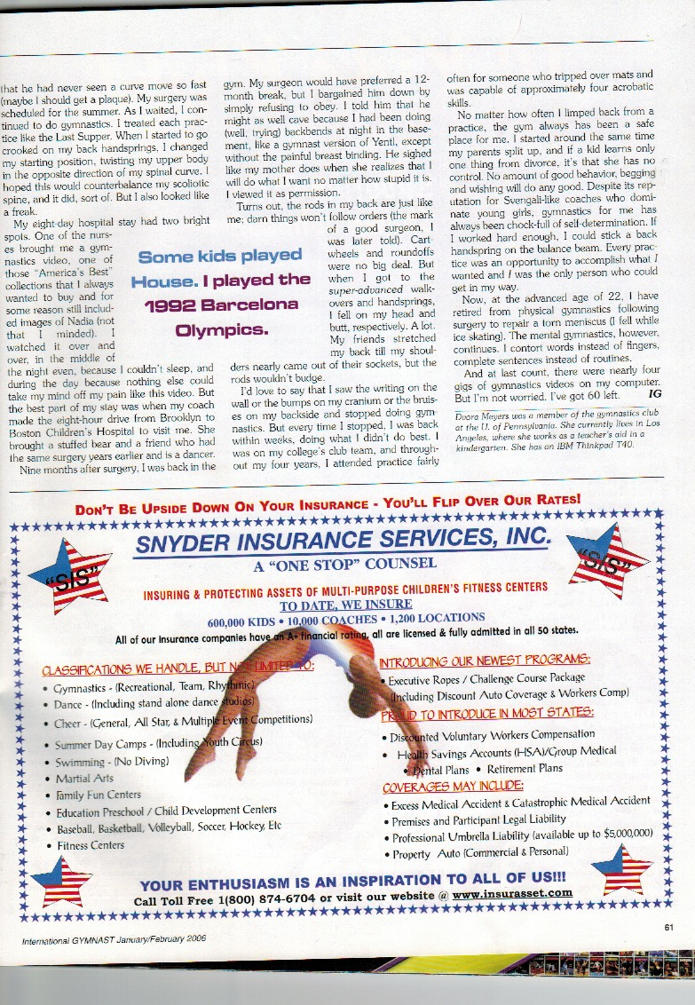 my first published essay in international gymnast dvora meyers and yet i m sharing it all of you instead of hoping it remained hidden in some landfill because i m clearly a masochist i should bring this up